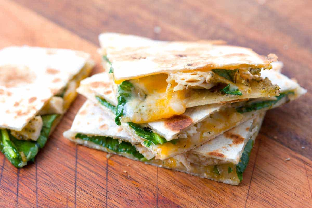 10 Minute Pesto Chicken Quesadillas