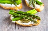 Roasted Asparagus, Ricotta and Pesto Crostini