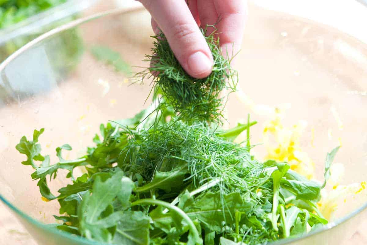 Finishing the salad