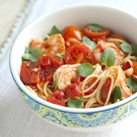 Shrimp Pasta with Tomato and Basil