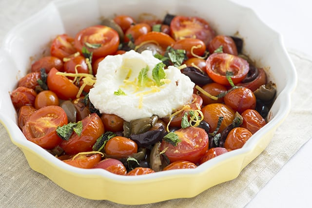 Lightly Roasted Tomatoes with Ricotta and Mint Recipe-2