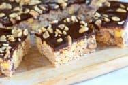 Chocolate Covered Reese's Rice Krispie Treats