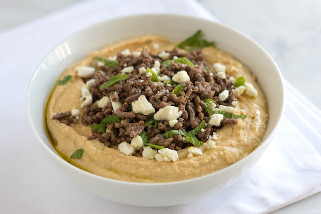 Spiced Ground Beef with Hummus