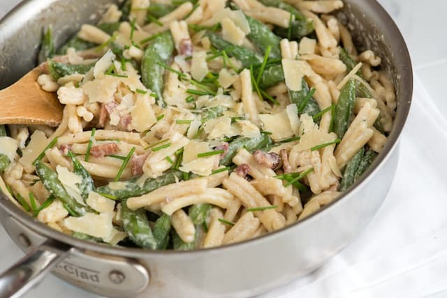 Yogurt Pasta with Bacon and Snap Peas - Recipe