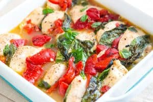 Basil Baked Chicken Casserole Recipe with Roasted Peppers
