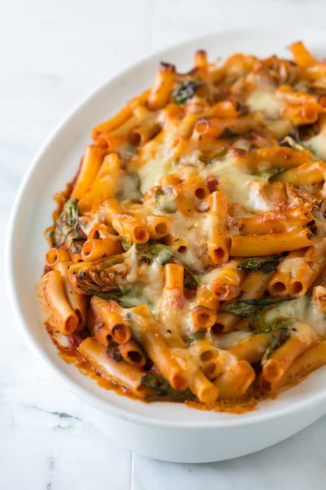 Simple Baked Ziti Recipe with Spinach, Artichokes and Pesto