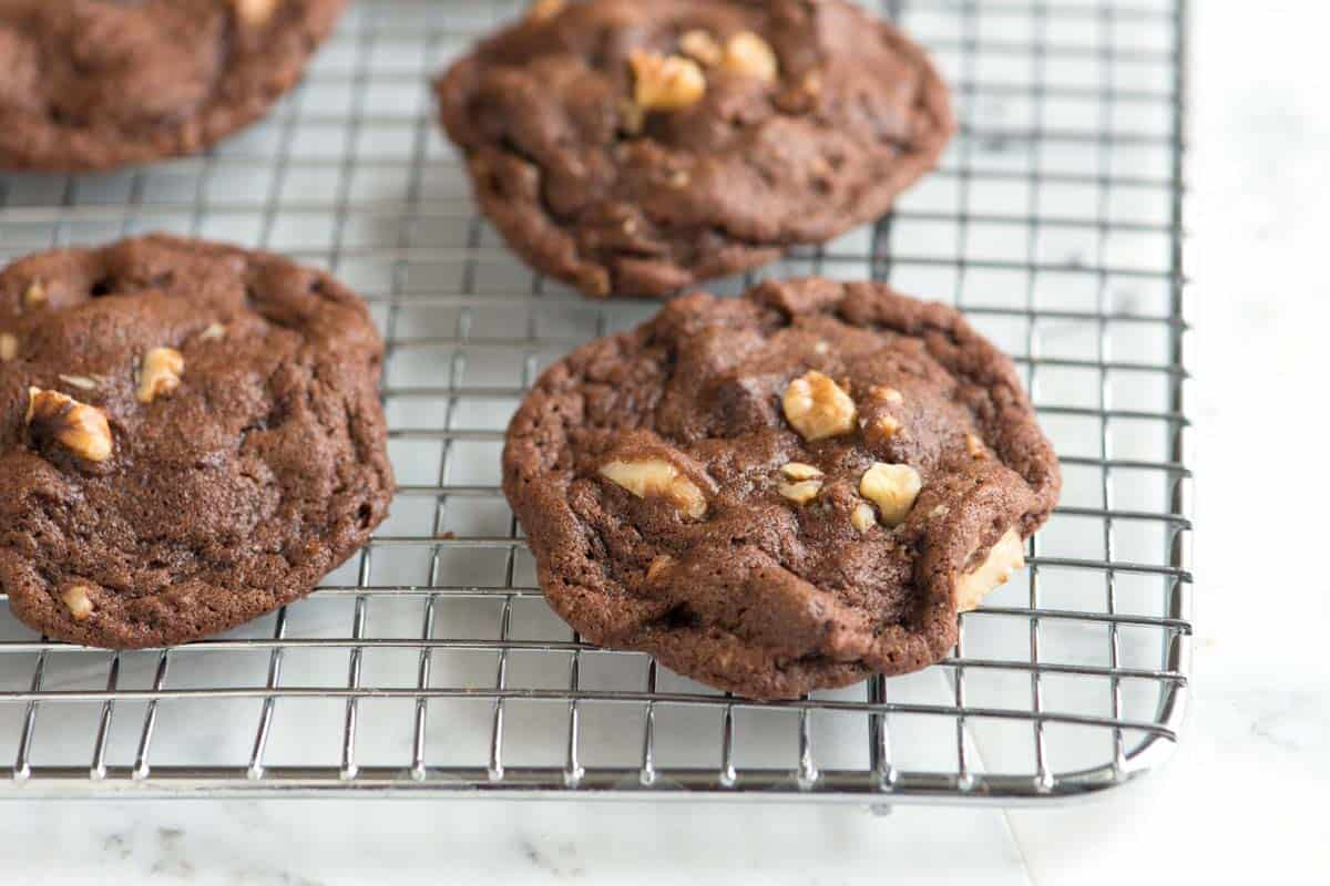 Easy chocolate walnut cookies with cocoa powder, butter, and lots of walnuts.