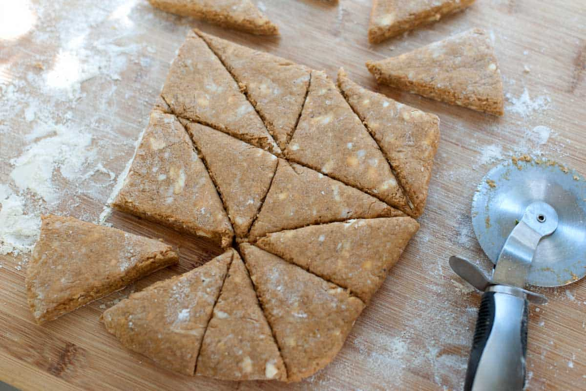 Pat it into a rectangle and then cut into whatever shape you like -- we go for triangles.
