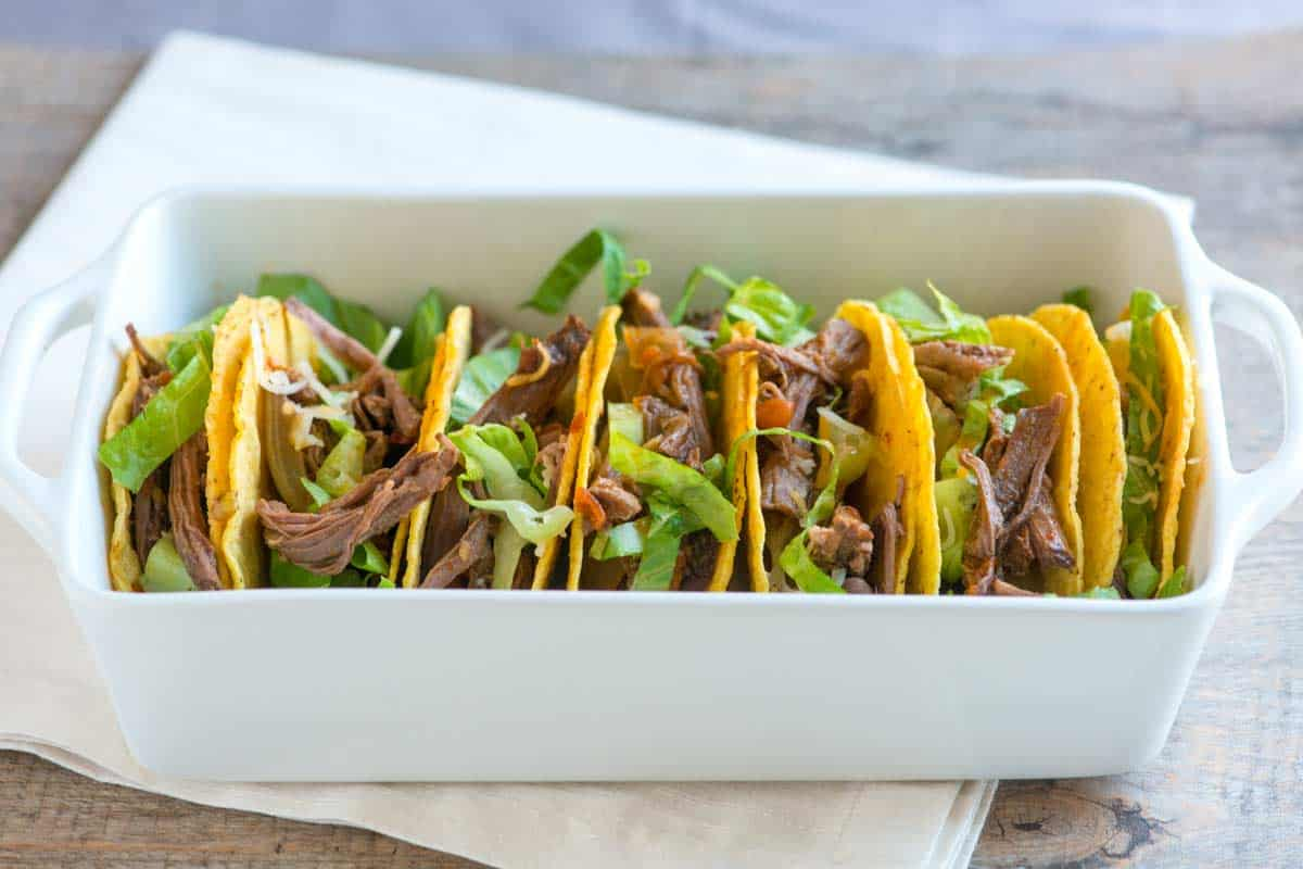 Slow Cooker Fire Roasted Tomato and Beef Tacos