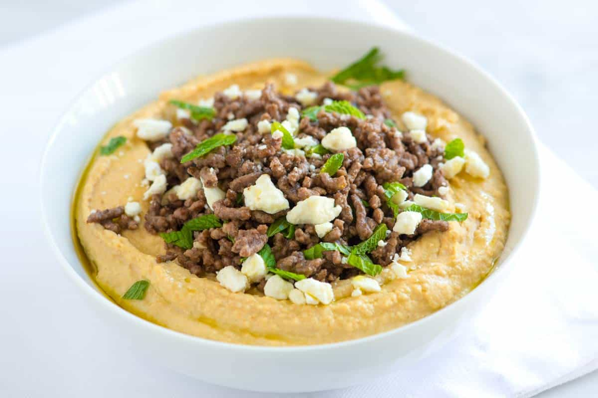 Hummus with Spiced Ground Beef, Feta and Mint