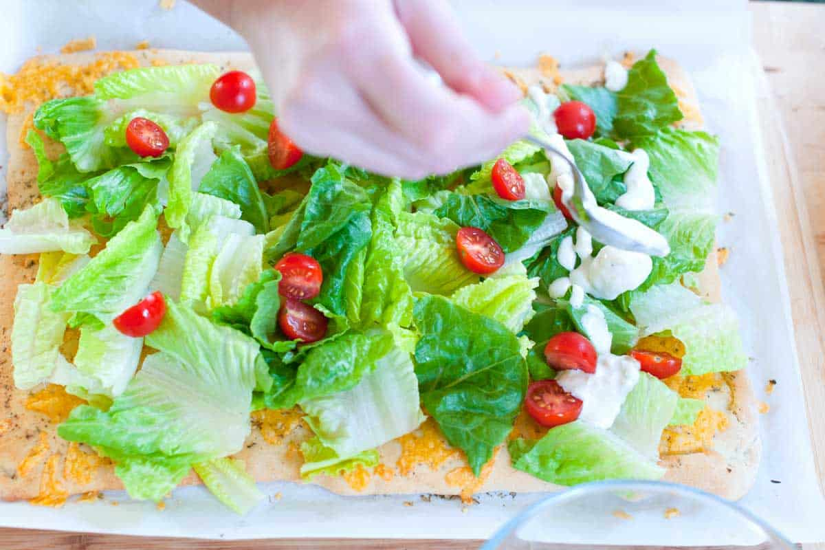 Adding the salad