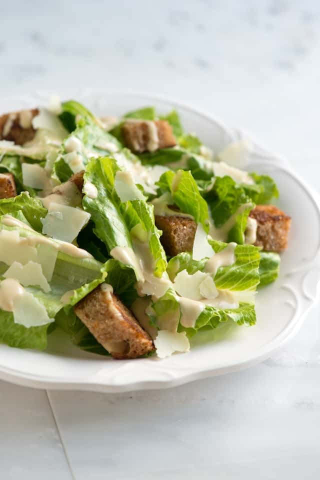 Easy Caesar Salad Recipe with Butter Croutons