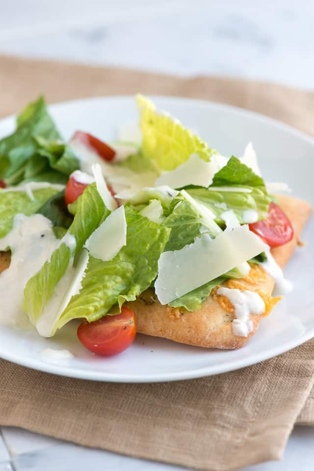 Simple Caesar Salad Pizza Recipe from www.inspiredtaste.net #recipe # ...