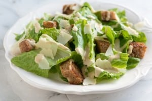 Caesar Salad Recipe with Butter Croutons