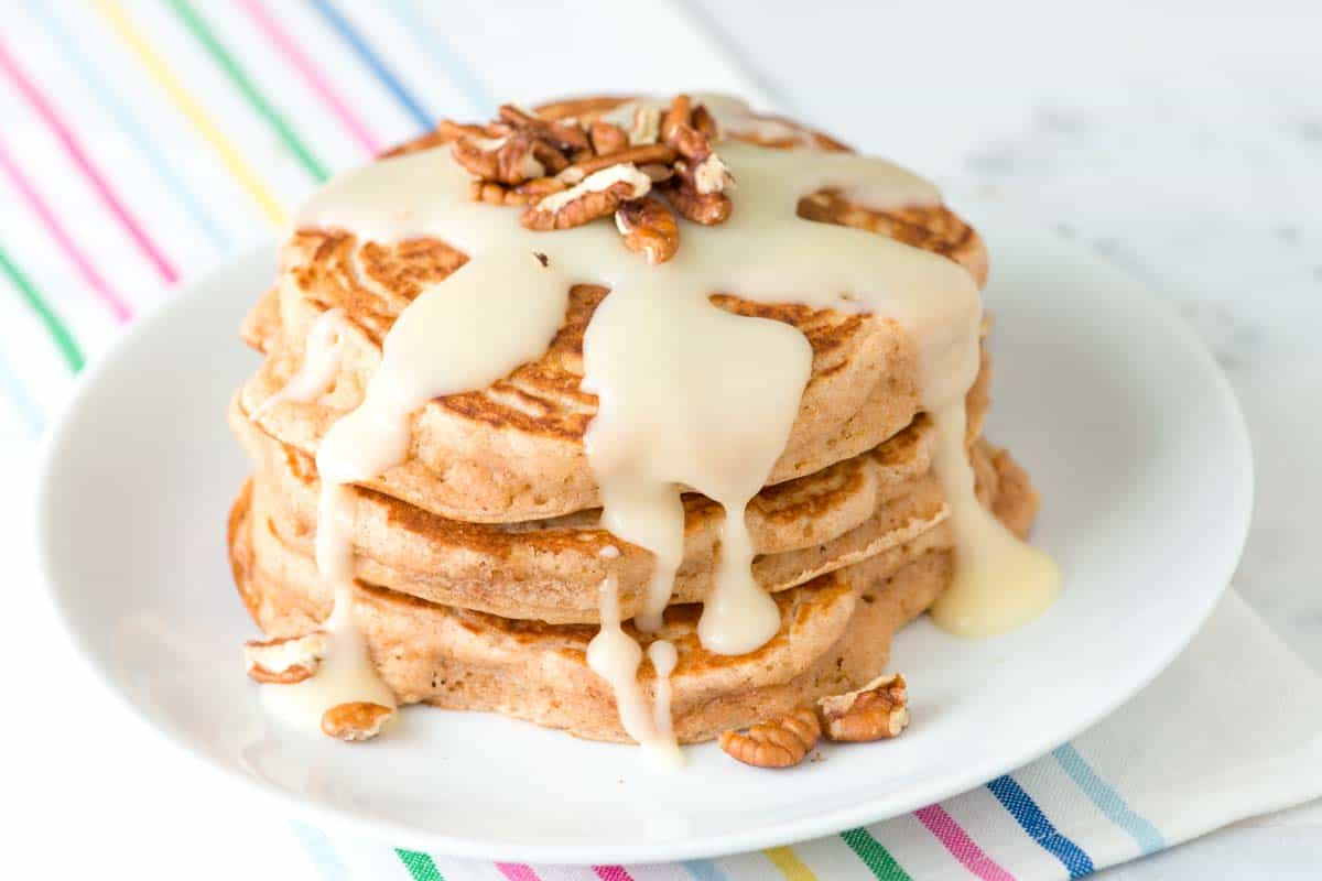 Cinnamon Pancakes Recipe with a Cinnamon Roll Glaze
