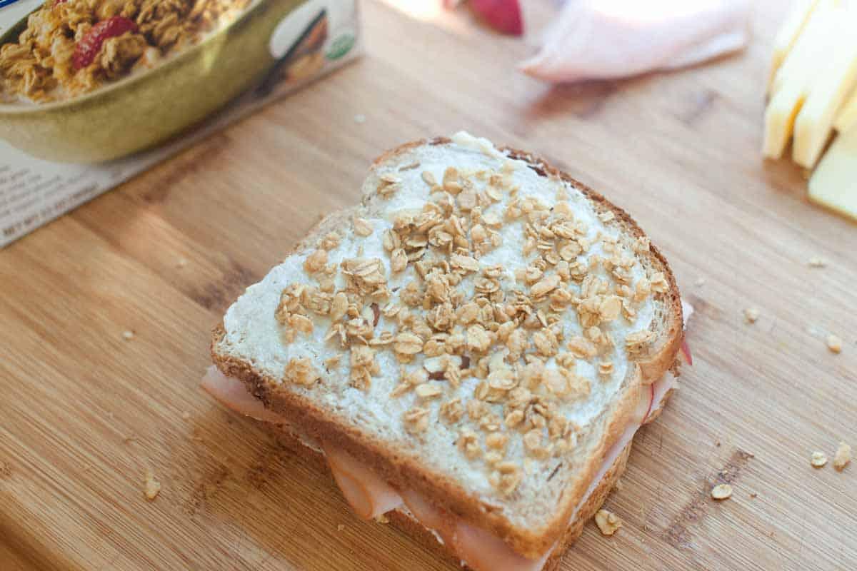 Adding the granola