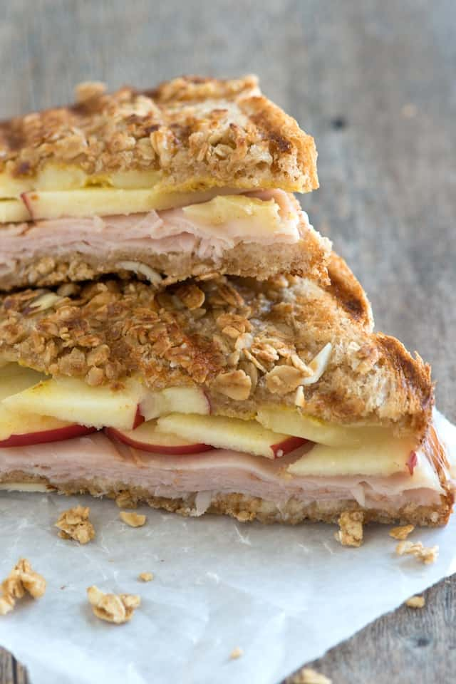 Granola Crusted Apple, Turkey and Cheddar Panini Recipe