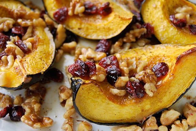 Roasted Acorn Squash With-Walnuts and Cranberries Recipe