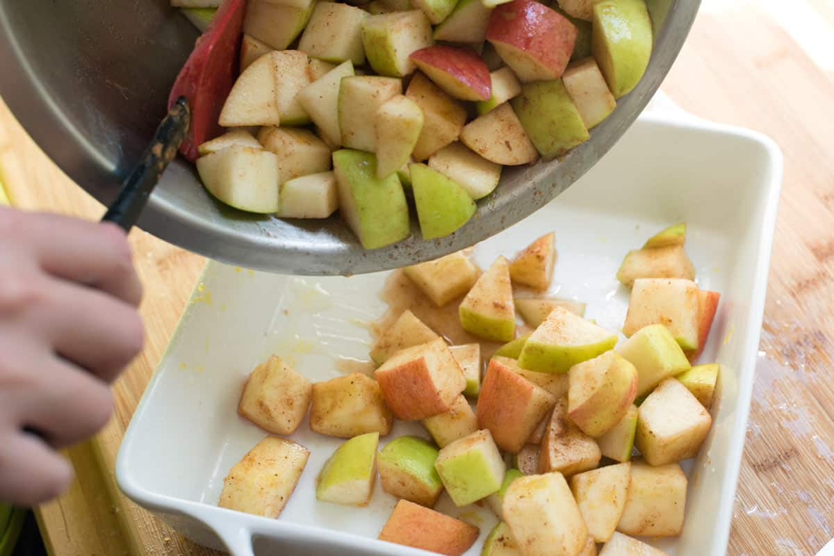 By leaving the apples unpeeled, the texture and flavor is better