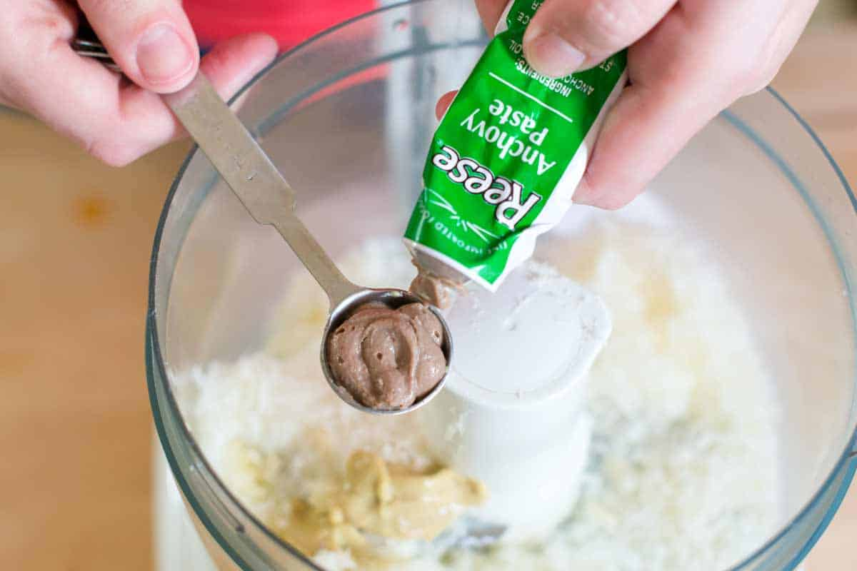 Adding anchovy paste to the egg-free caesar dressing