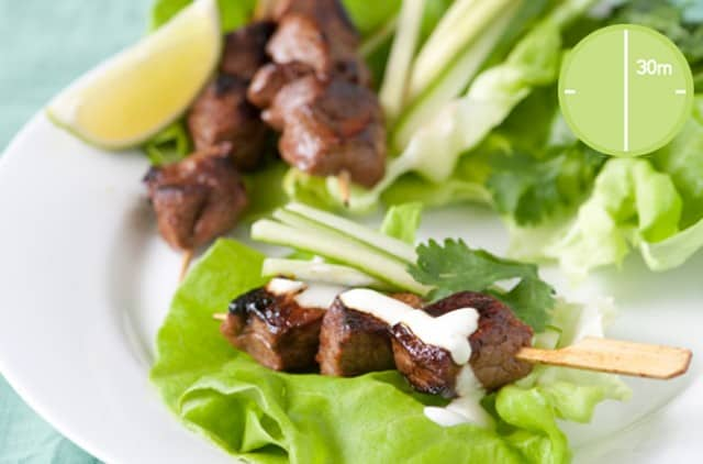 Honey Sriracha Beef Skewers