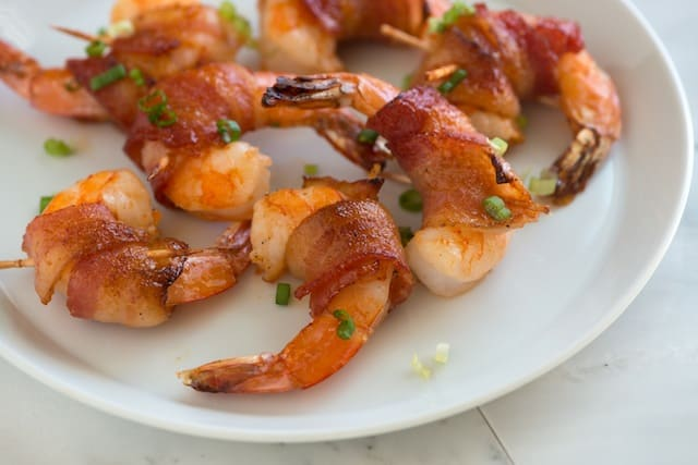 Spicy Maple Bacon Wrapped Shrimp