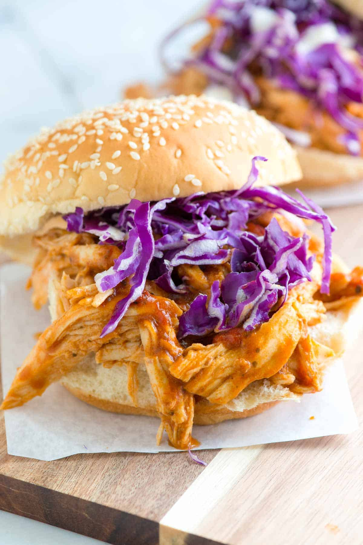 Making Our Tangy Shredded Chicken Sandwiches