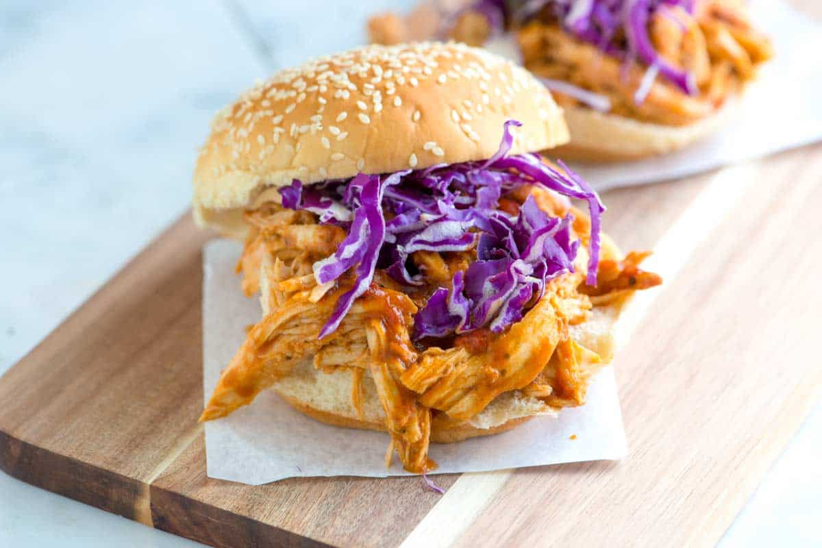 Tangy Barbecue Pulled Chicken Sandwiches