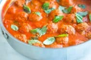 Easy Turkey Meatballs Recipe in Tomato Basil Sauce