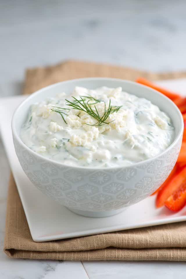 Simple Tzatziki with Feta - Greek Cucumber Yogurt Dip
