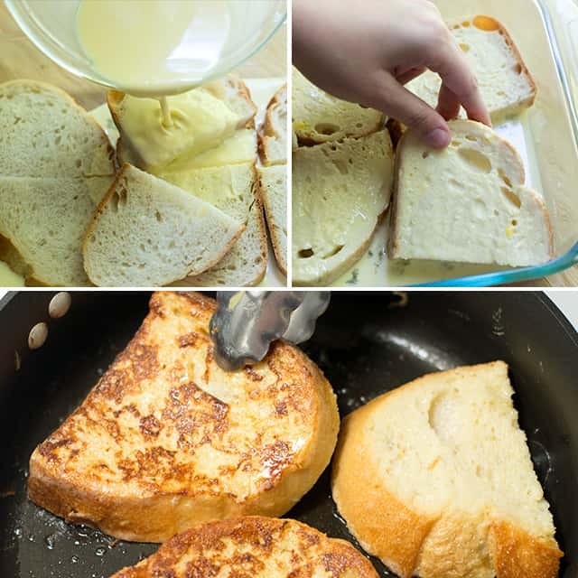 Start with thick slices of day-old bread then soak them in a mixture of eggs, milk, cream and vanilla extract.