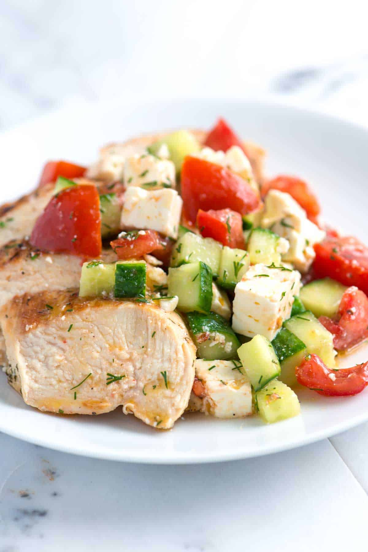 Lemon Chicken Breasts with Cucumber, Tomatoes and Feta