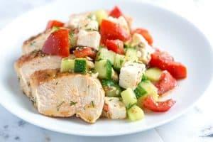 Lemon Chicken Breast Recipe with Cucumber Feta Salad
