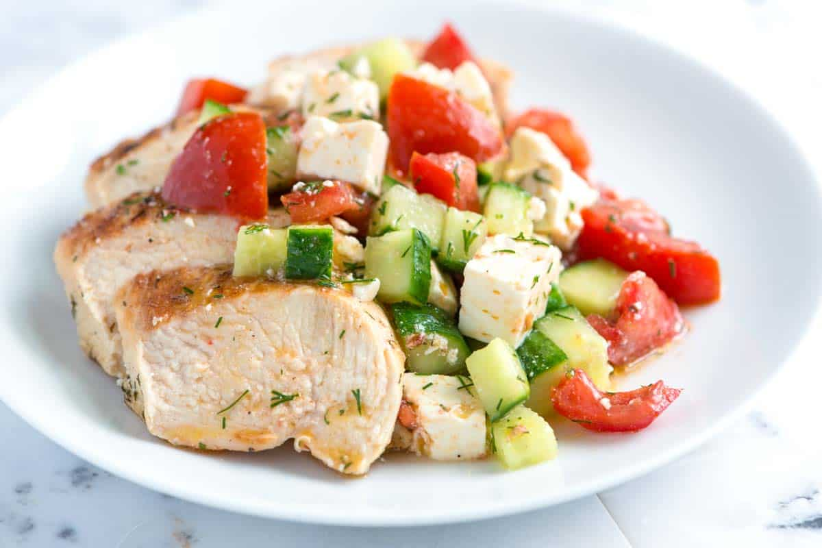 Lemon Chicken Breast Recipe with Cucumber Feta Salad
