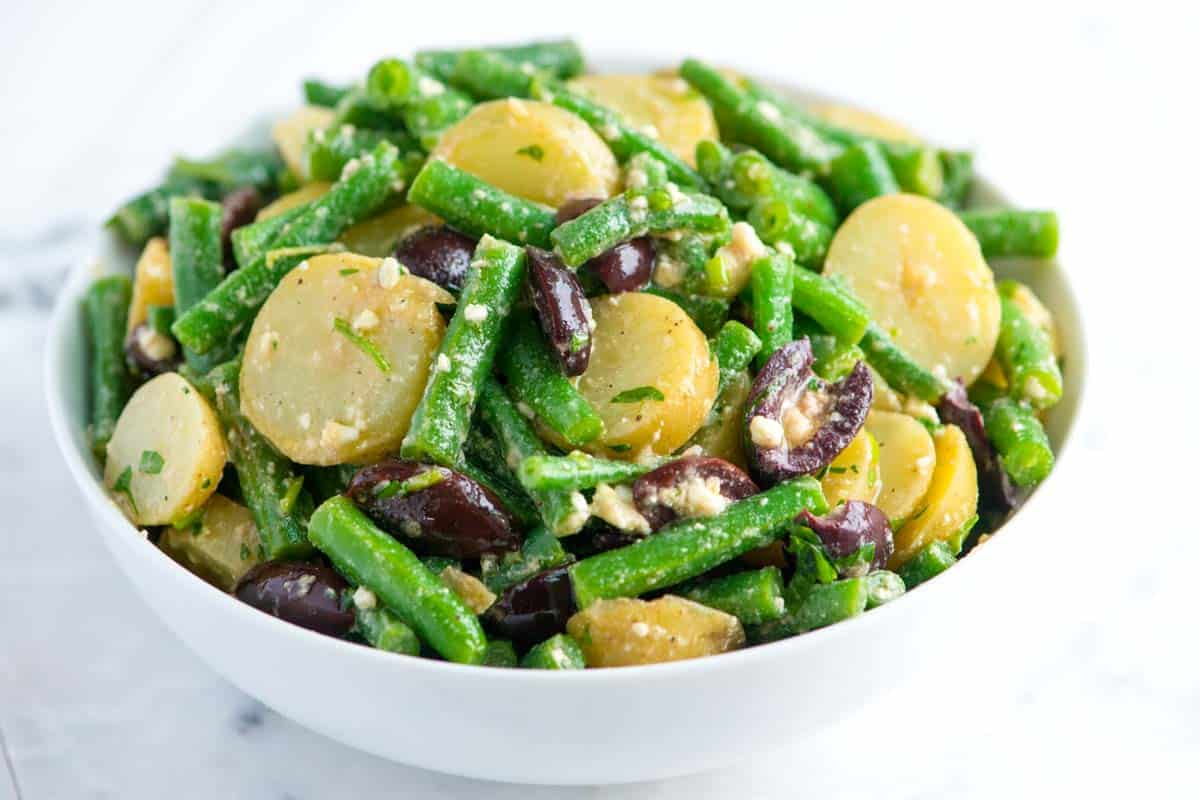 Green Bean Potato Salad Recipe with Feta and Olives