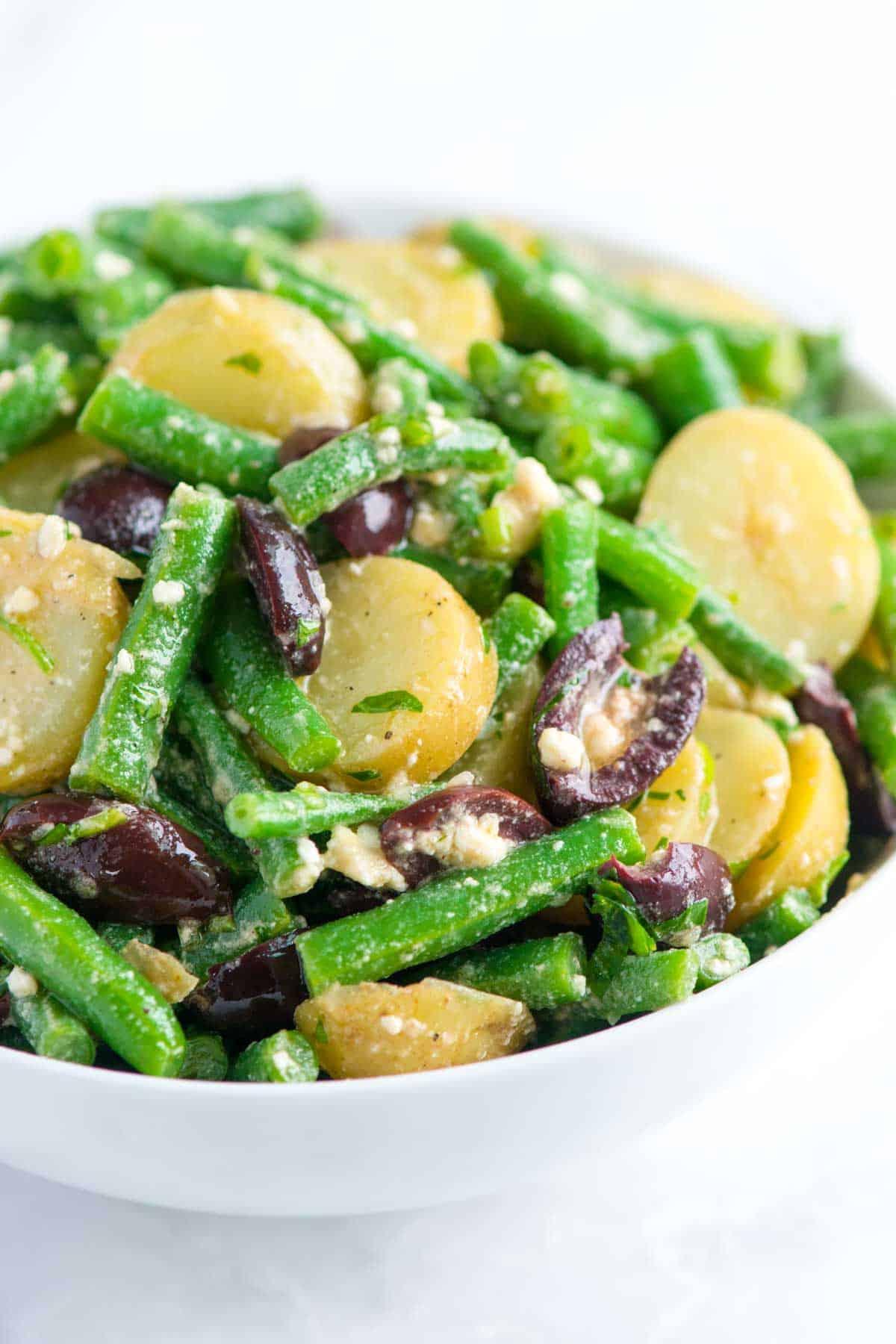 How to Make a Potato and Green Bean Salad with Feta Vinaigrette