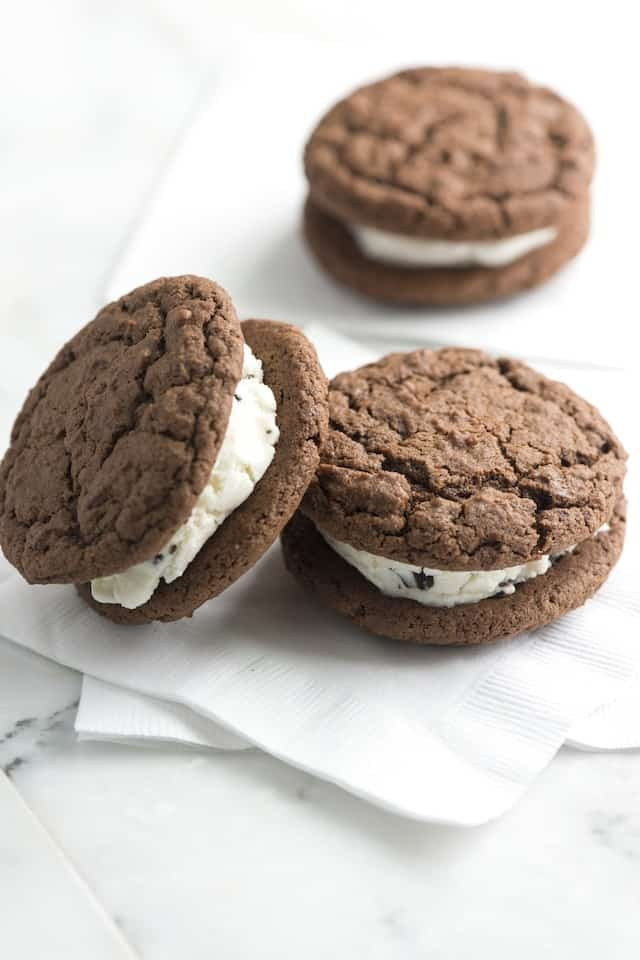 Homemade Ice Cream Sandwiches - Chocolate Ice Cream Sandwiches