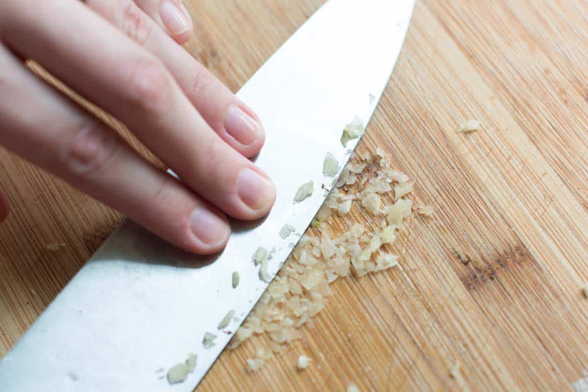 Turn the garlic into a paste.