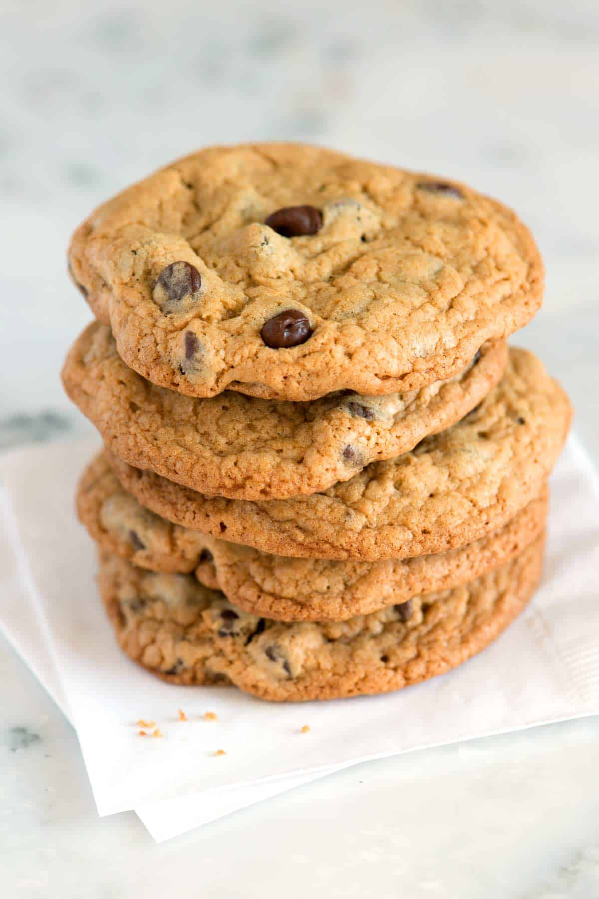 These chocolate chip cookies are easy to make. We prefer to use our stand mixer, but you can also make these cookies with a handheld mixer.