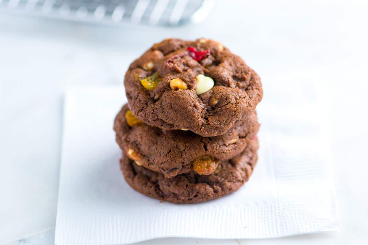 Easy Chocolate Cookies Recipe with Dried Fruit and Nuts