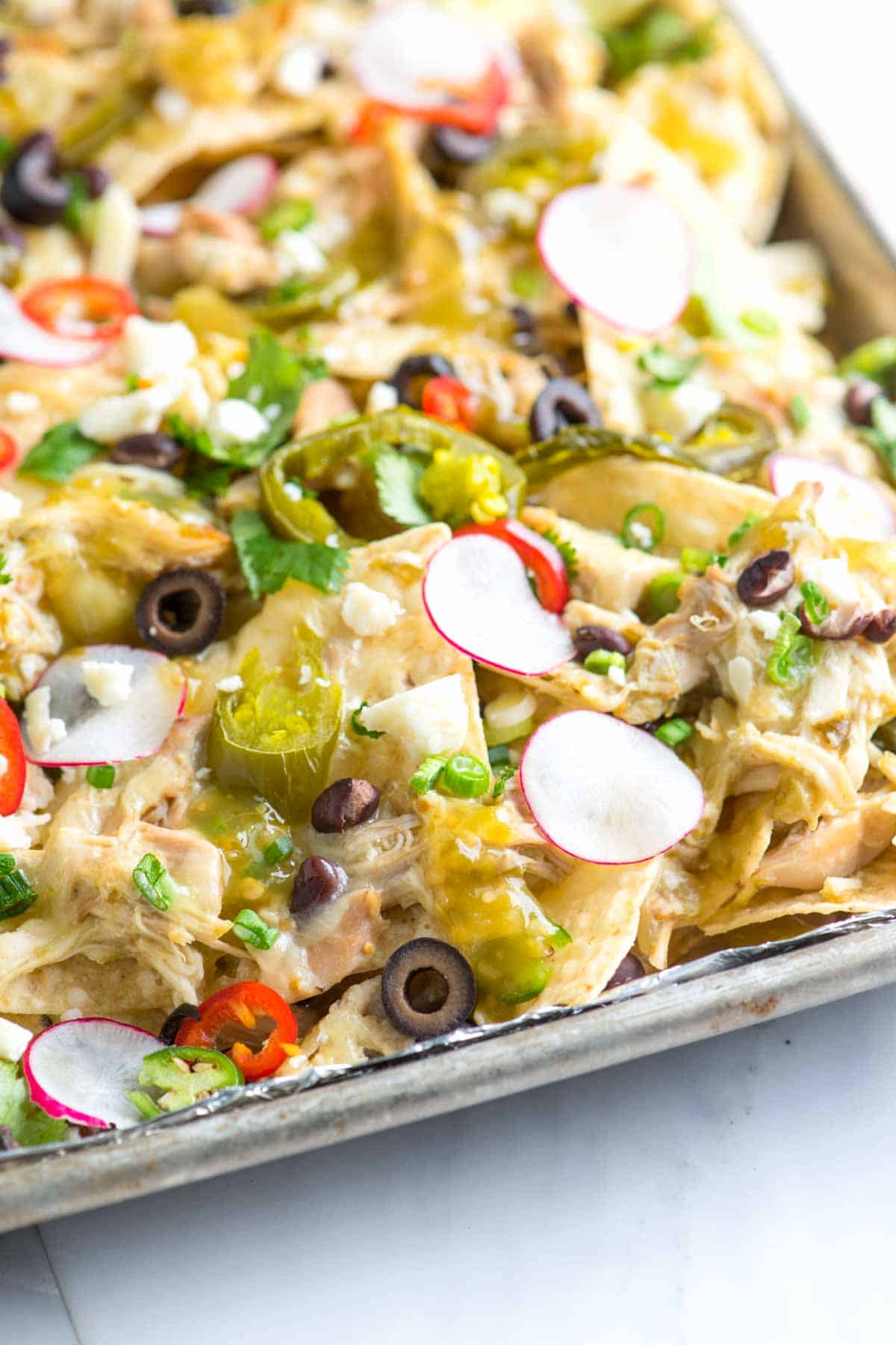 Loaded Nachos with Chicken and Lots of Toppings
