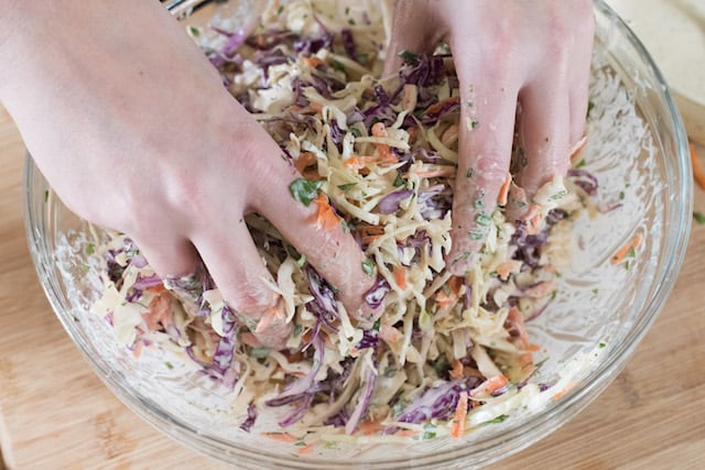 Mixing Joanne's Favorite Coleslaw By Hand