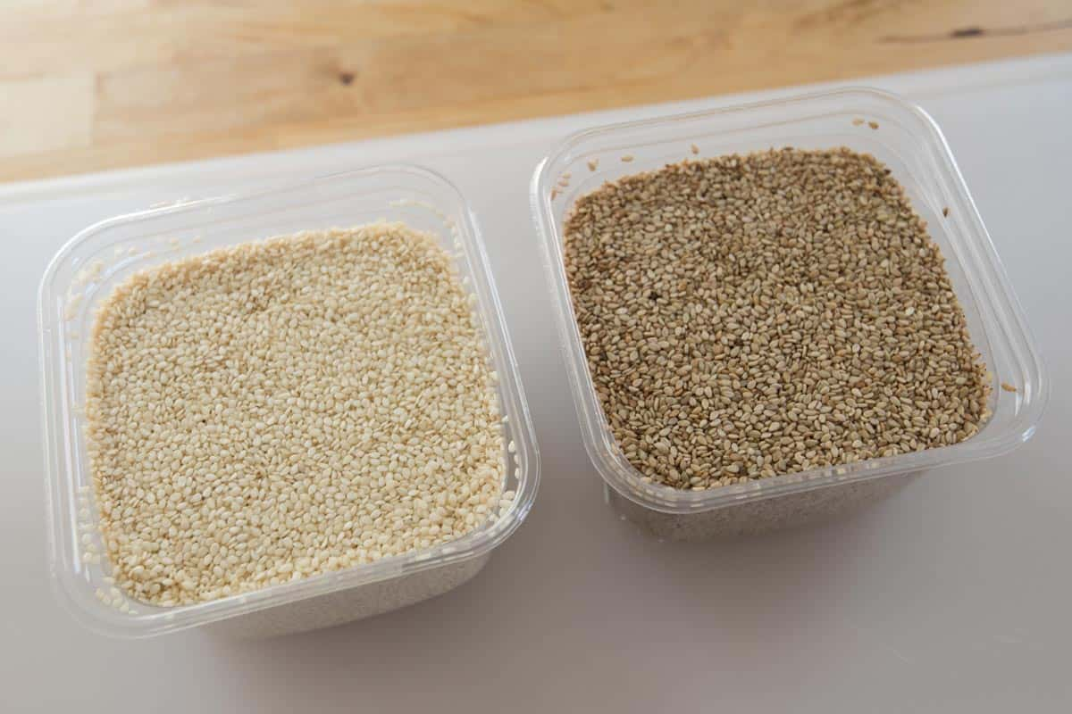 The difference between natural or hulled sesame seeds and unhulled sesame seeds.