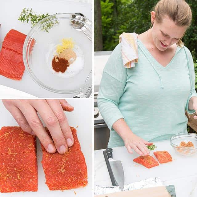 Adding the spice rub to the salmon