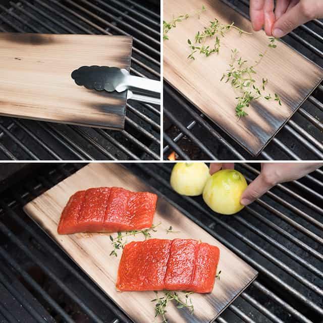 Preparing the cedar plank