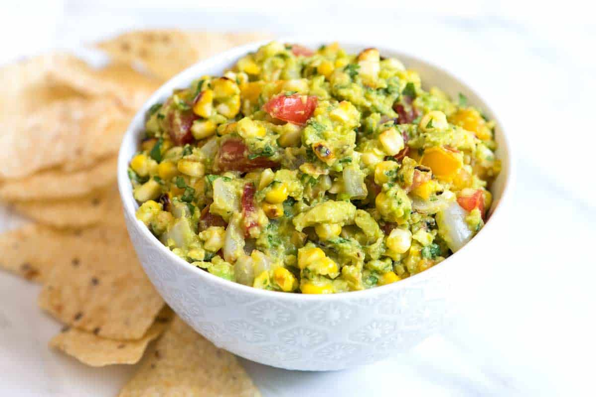 Easy Grilled Guacamole Recipe with Corn