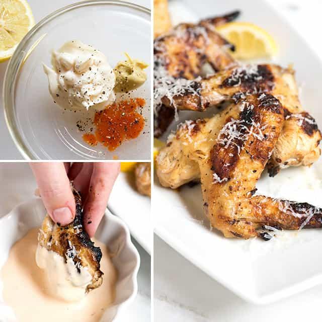 Grilled Lemon Garlic Chicken Wings with Lemon Dipping Sauce