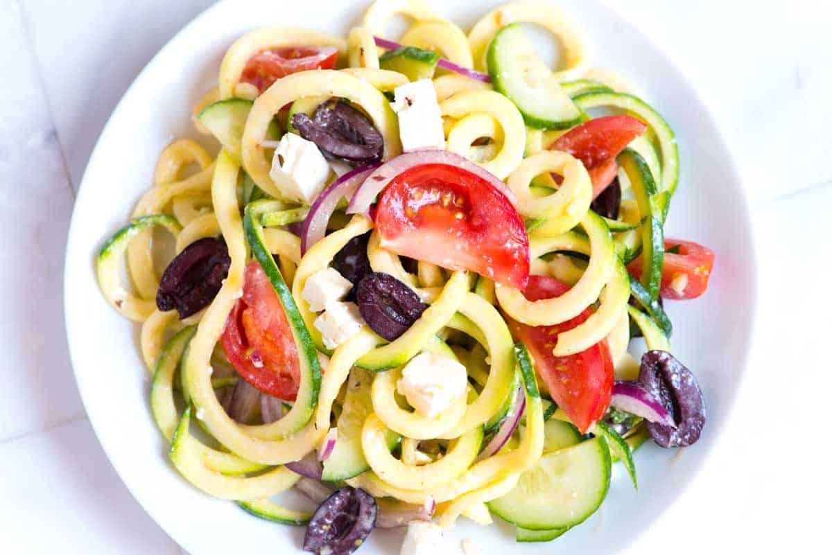 Mediterranean Zucchini Noodles Salad