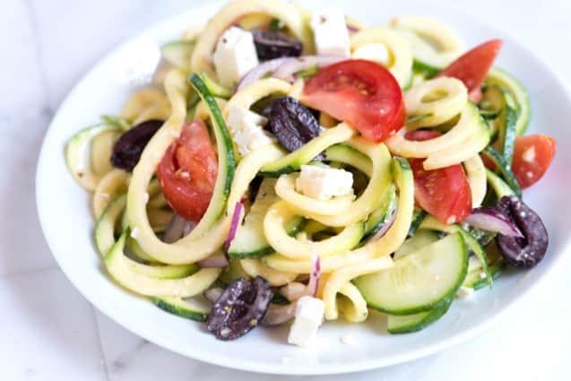Mediterranean Zucchini Noodles Salad with Spicy Yogurt Dressing