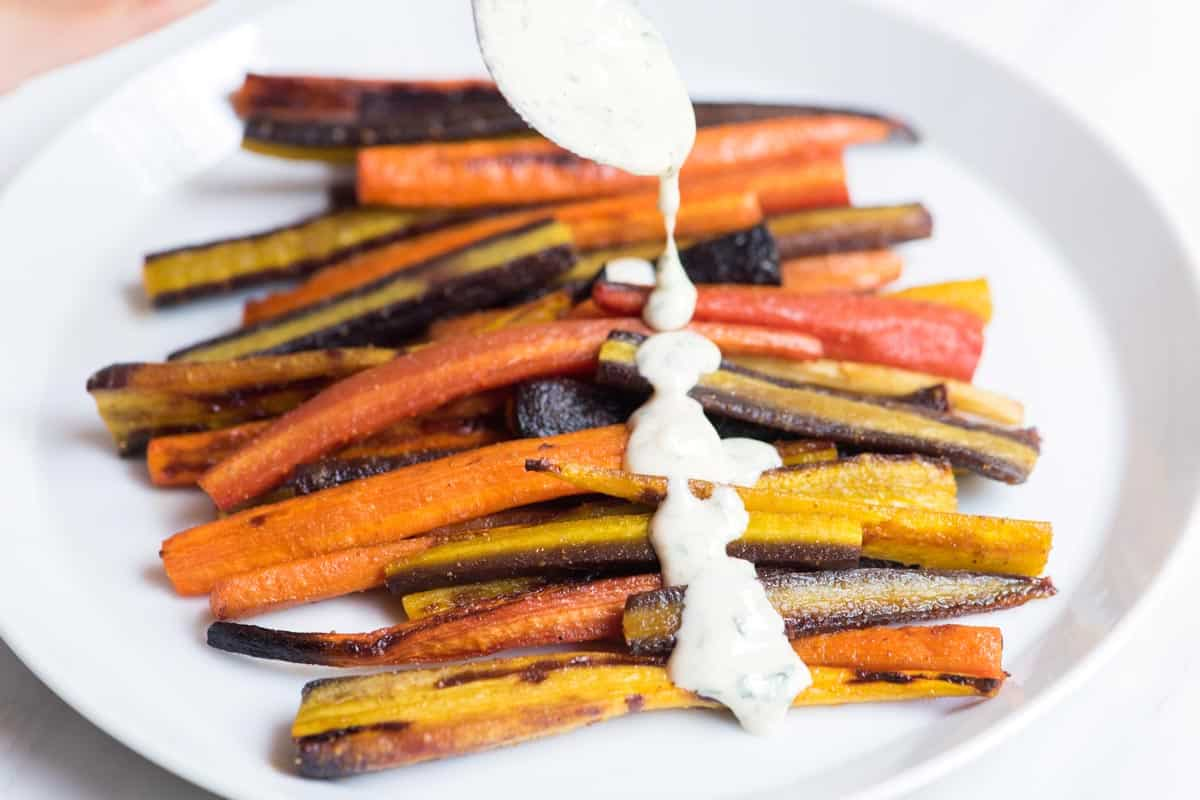 20 Minute Honey Roasted Carrots with Tahini Sauce